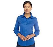 As Is Isaac Mizrahi Live! Tiered Collar Long Sleeve Button Shirt - A272374