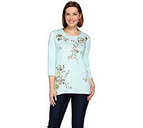 Quacker Factory Printed  Floral and Sequin 3/4 Sleeve T-shirt - A272774