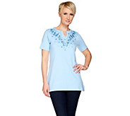 Quacker Factory Butterfly Blues Split Neck Short Sleeve Tunic - A275274