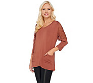 As Is LOGO by Lori Goldstein 3/4 Sleeve Knit Top with Lace Shoulder Detail - A278274