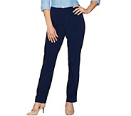 Susan Graver Milano Knit Zip Front Straight Leg Pants - Regular - A279774
