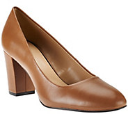 As Is H by Halston Leather Block Heel Pumps - Lenna - A280374