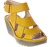 FLY London Leather Wedge Sandals - Yair - A283074