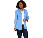 As Is Denim & Co. Essentials 3/4 Sleeve Cardigan - A283374