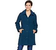Denim & Co. Fleece Jacket with Sherpa Lining & Detachable Hood - A283674