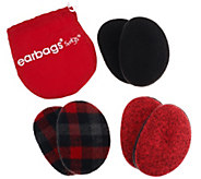 As Is Plaid & Solid Earbags by Sprigs Set of 3 - A284274