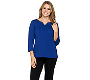 Joan Rivers Wardrobe Builders 3/4 Sleeve Top with Notch Neckline - A284474