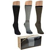 Catawba Set of 3 Merino Wool Blend Socks with Gift Box - A284674