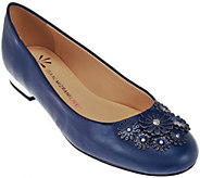 As Is Isaac Mizrahi Live! Leather Ballets Flats w/Floral Embellishments - A285074