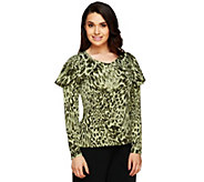 As Is George Simonton Printed Milky Knit Top with Capelet Detail - A285874