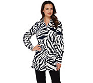 As Is Dennis Basso Animal Print A-Line Blouse with Long Sleeves - A286774