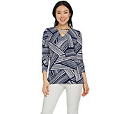 Susan Graver Printed Liquid Knit 3/4 Sleeve Top - A287674