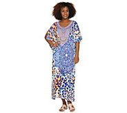 Ellen Tracy Silky Smooth Long Caftan with Bib Detail - A289774
