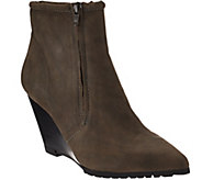 As Is H by Halston Leather Double Zipper Wedge Ankle Boots - Hal - A289874