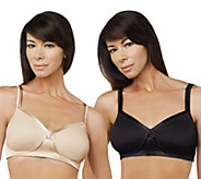 As Is Breezies Set of 2 Full Coverage Wirefree Bras - A290074