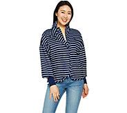 Peace Love World Zip Front Cotton Jacket w/ Waist Detail - A290274