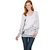Dennis Basso Roma Print Woven Peasant Blouse with Tank - A291574