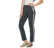 Women with Control Regular Slim Leg Ankle Pants w/ Contrast Trim - A292374