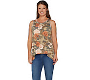 Peace Love World Camo and Floral Printed Tank w/ Asymmetric Hem - A296574