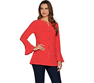 Susan Graver Textured Liquid Knit Button Front Tunic - A298474