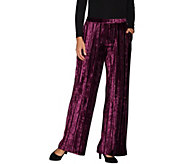 H by Halston Regular Crushed Velvet Wide Leg Knit Pants - A299074