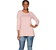 Martha Stewart Scoop Neck 3/4 Sleeve Hi-Low Hem Knit Tunic - A301074