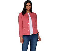 Isaac Mizrahi Live! Button Front Double Knit Field Jacket - A303174