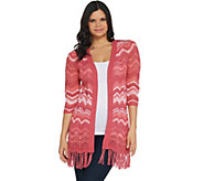 Isaac Mizrahi Live! TRUE DENIM Chevron Knit Cardigan - A306374