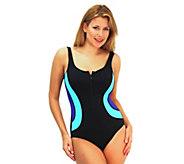 Fit 4 Ur Tummy Color Blocks Zipper Tank Swimsuit - A332174