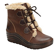 Bionica Leather and Faux Fur Lace-up Bootie - Genova - A355374