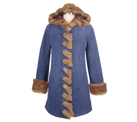 Dennis Basso Hooded Suede Coat w/Faux Fur Whipstitch Detail