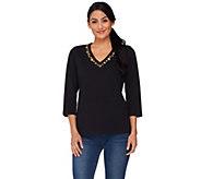 Susan Graver Stretch 3/4 Sleeve V-Neck Top w/ Grommet Detail - A87174