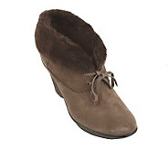 B. Makowsky Suede Lace-up Ankle Boots with Faux Fur Trim - A210375