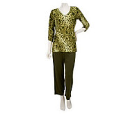 Susan Graver Printed Liquid Knit V-neck Top w/ Crop Pants - A216575