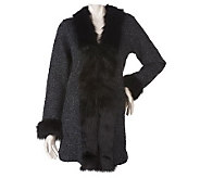 Dennis Basso Wool Blend Sweater Coat with Faux Fur Trim Detail - A219375