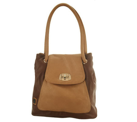 V Couture by Kooba Charlotte Tote w/ Flap Front & Turnlock Detail