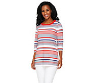 Denim & Co. 3/4 Sleeve Striped Knit Tunic with Side Slits - A230875