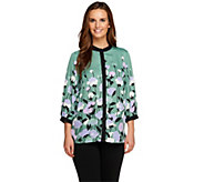 Bob Mackies 3/4 Sleeve Placement Print Button Front Blouse - A230975