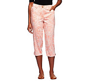Susan Graver Printed Stretch Cotton Sateen Front Zip Capri Pants - A231975