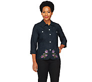 Denim & Co. 3/4 Sleeve Embroidered Jean Jacket - A232675