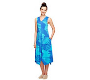 Stan Herman Sparklers Printed Jersey Pullover Tank Gown - A252975