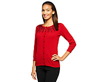 As Is Susan Graver Printed Cardigan Sweater with Beading - A253775