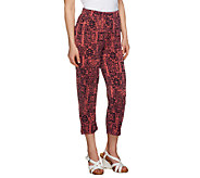 Susan Graver Printed Liquid Knit Regular Crop Pants - A254175