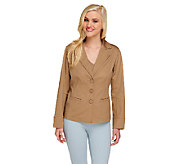 Linea by Louis DellOlio Button Front Cotton Sateen Jacket - A254575