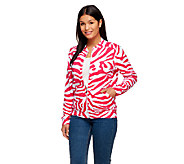 Susan Graver Weekend Printed French Terry Long Sleeve Bomber Jacket - A255375