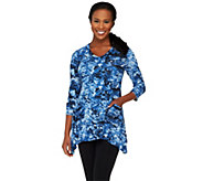 LOGO by Lori Goldstein Printed Knit Top with Pockets - A255775