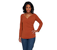 Susan Graver Liquid Knit Long Sleeve Surplice Wrap Top w/Ruching - A257075