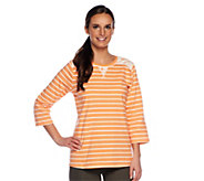 As Is Denim & Co. Perfect Jersey 3/4 Sleeve Striped with Lace - A258275