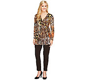 Women With Control Regular Faux Wrap Tunic and Pants Set - A258975