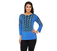 Bob Mackies Nairobi Printed 3/4 Sleeve Pullover Top - A261775